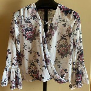 Cute bell sleeve sheer floral top